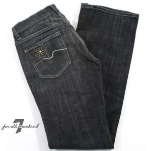7 FOR ALL MANKIND Gray Flare Leg Low Rise Jeans